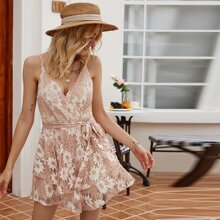 Floral Belted Lace Cami Romper