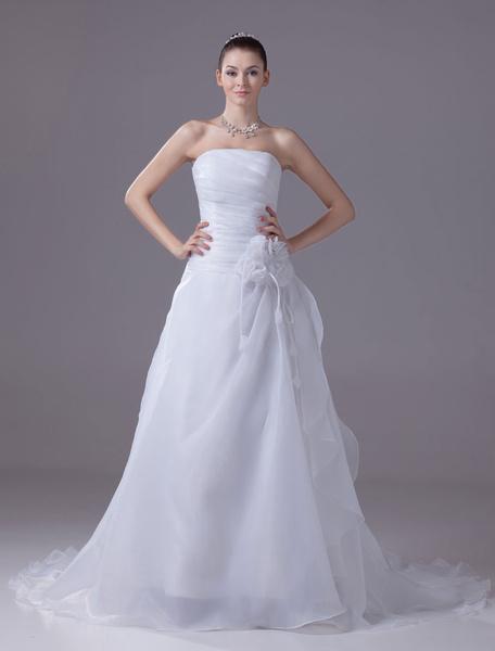 Milanoo Strapless Wedding Dress A-Line Pleated Chaple Train Bridal Dress With Sash Flower