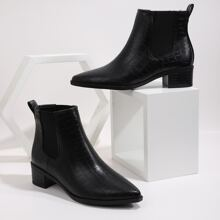Point Toe Croc Embossed Chunky Heeled Chelsea Boots