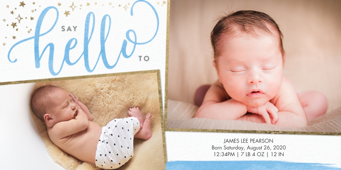 Baby Announcements Flat Glossy Photo Paper Cards with Envelopes, 4x8, Card & Stationery -Baby Hello Gold Border by Tumbalina