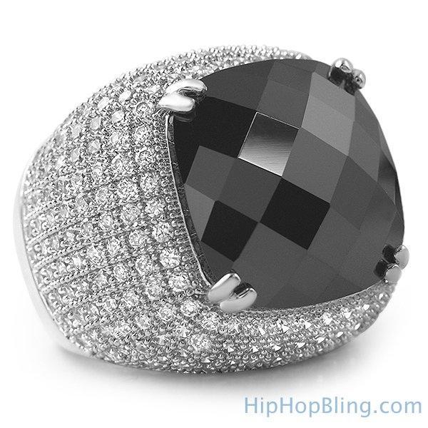 Black Rose Cut CZ Rhodium Bling Bling Ring