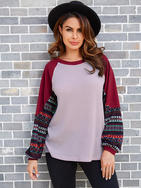 YOINS Light Pink Color Block Tribal Print Knit Top