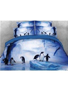 Penguins Frolicking Microfiber Wrinkle/Fade Resistant 4-Piece 3D Purple Bedding Sets Durable Duvet/Comforter Cover with Non-slip Ties