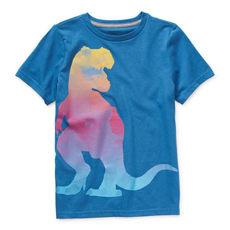 Arizona Little & Big Boys Crew Neck Short Sleeve Graphic T-Shirt, X-small (6-7) , Blue
