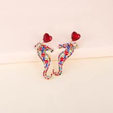 Rhinestone Seahorse Drop Earrings