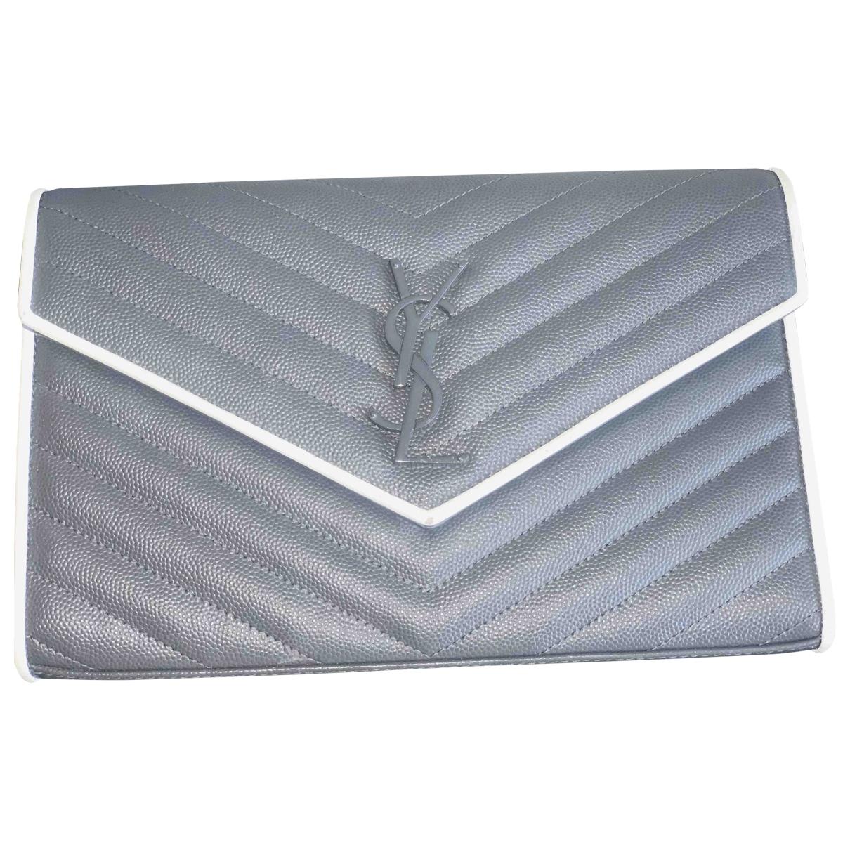 Saint Laurent - Pochette Portefeuille enveloppe pour femme en cuir - gris