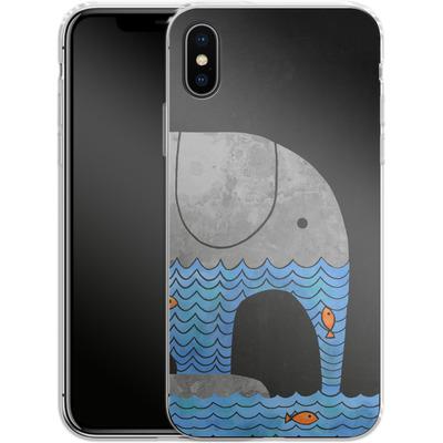 Apple iPhone X Silikon Handyhuelle - Thirsty Elephant von Terry Fan