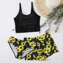 3 Stuecke Bikini Badeanzug mit Sonnenblumen Muster und Raffungsaum