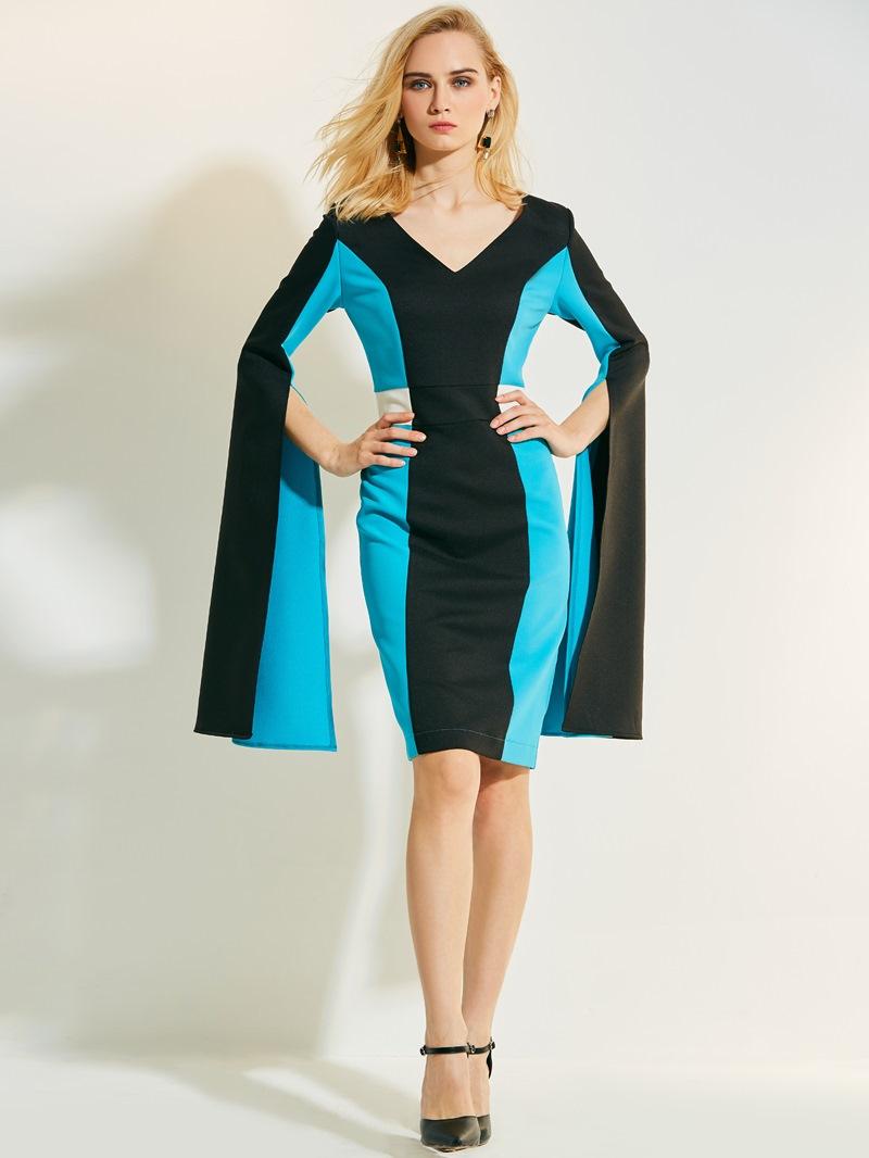 Ericdress V-Neck Color Block Flare Sleeves Bodycon Dress