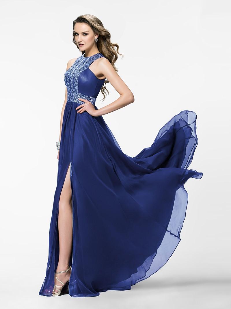 Ericdress Elegant A-Line Jewel Beading Split-Front Evening Dress