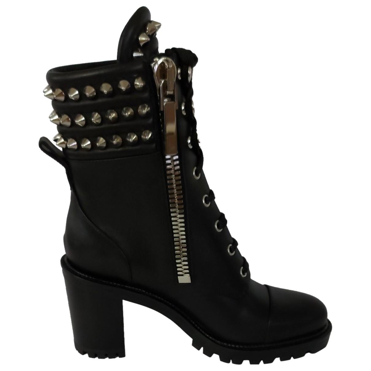 Christian Louboutin N Black Leather Boots for Women 37.5 EU