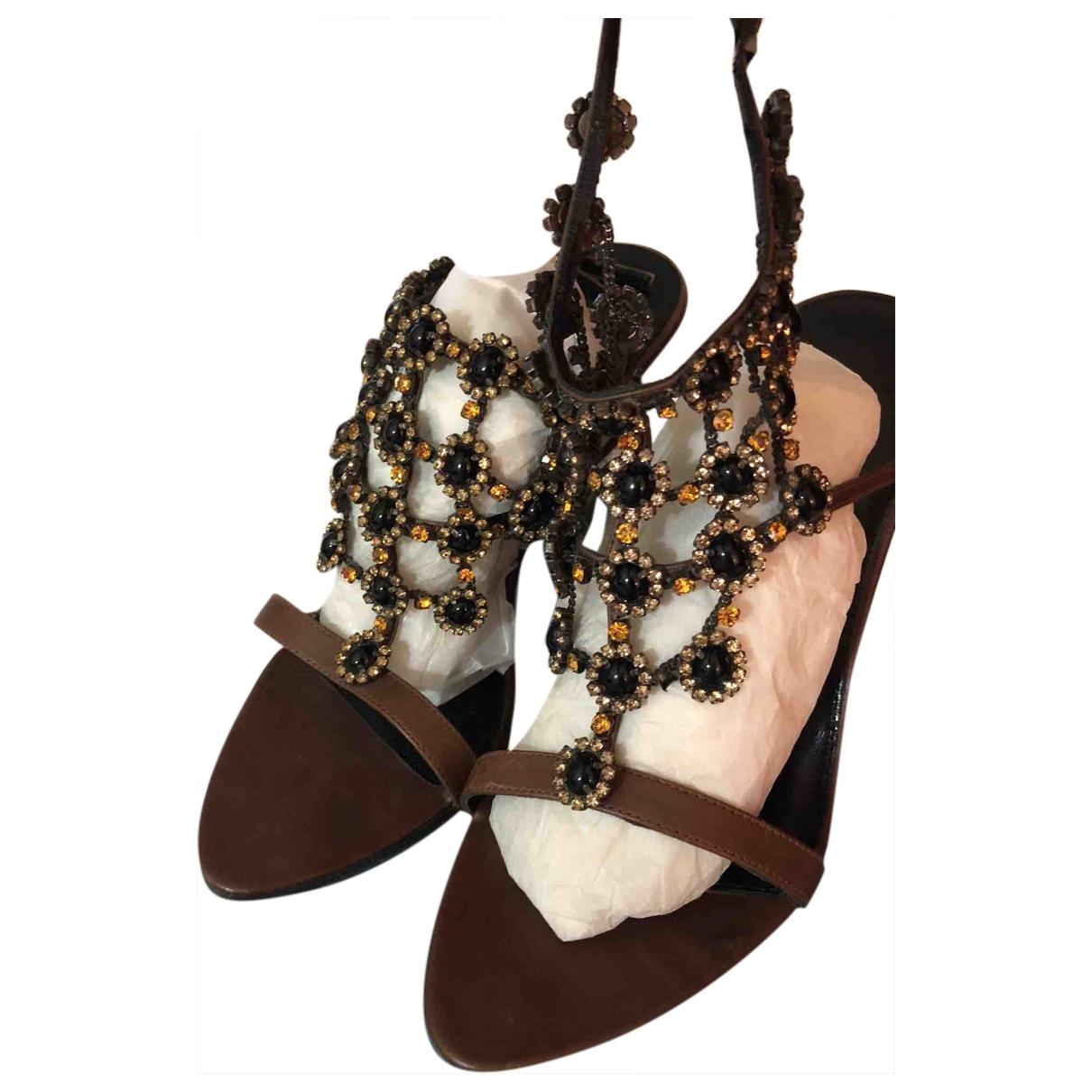 Karen Millen \N Camel Leather Sandals for Women 39 EU