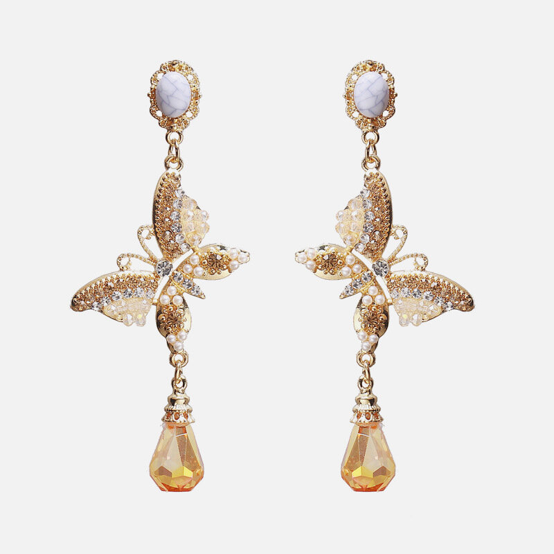 Vintage Metal Geometric Rhinestone Pearl Butterfly Earrings Butterfly Crystal Pendant Long Earrings