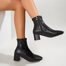 Square Toe Chunky Heeled Boots