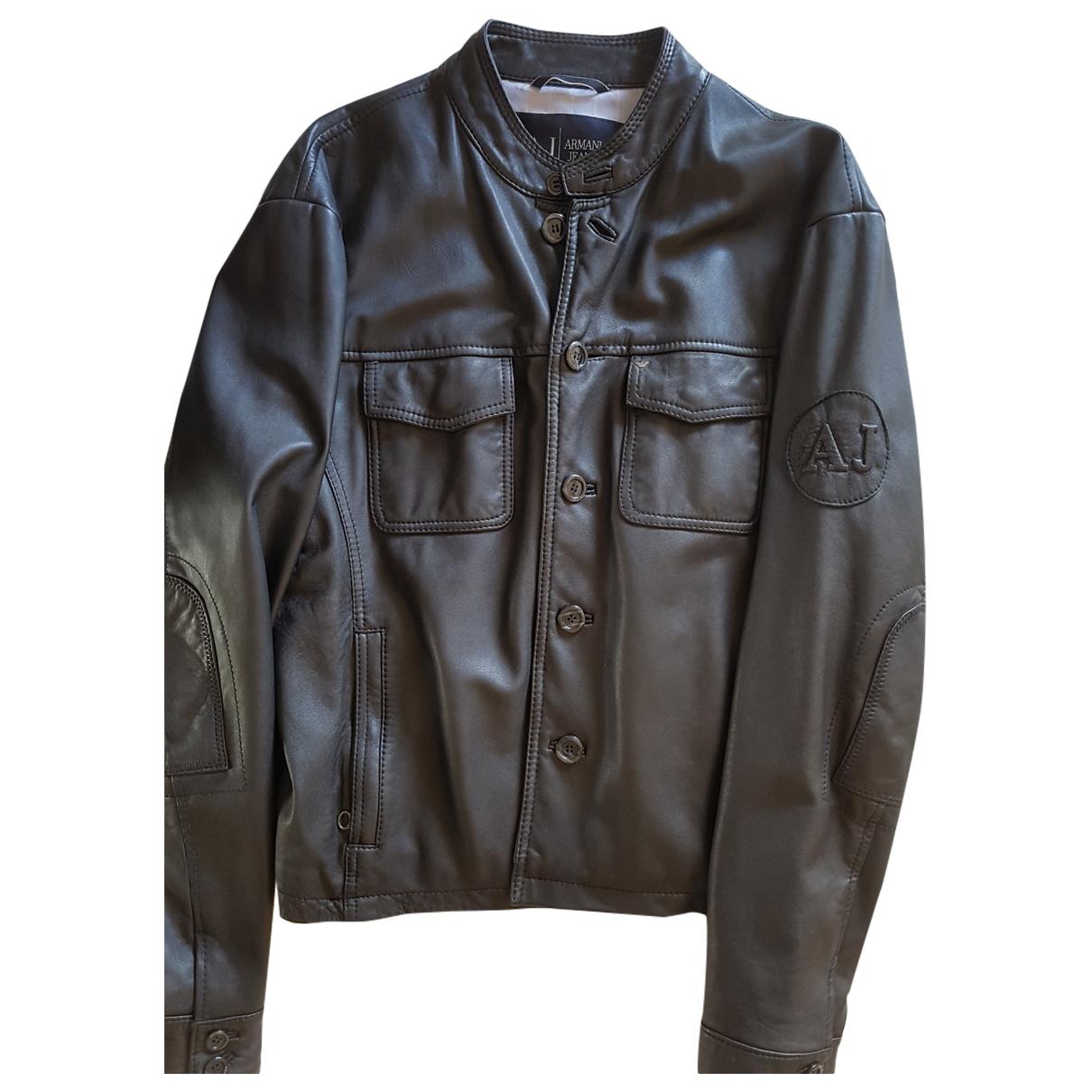 Armani Jeans \N Jacke in  Schwarz Leder