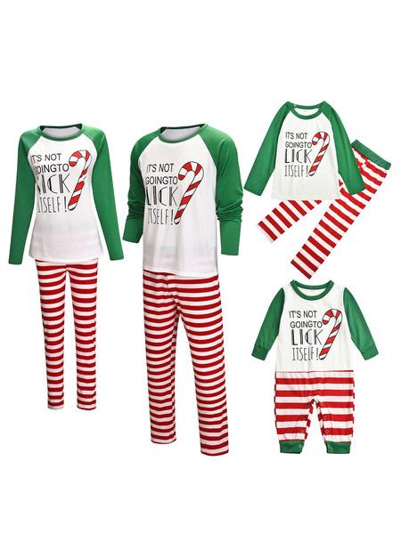 Milanoo Matching Family Christmas Pajamas Cotton Blend Color BlockWhite Green Stripes TopPants Set