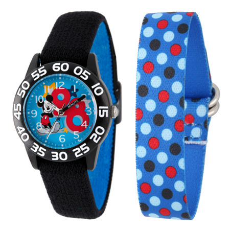 Disney Mickey Mouse Boys Black Strap Watch-W002160, One Size , No Color Family