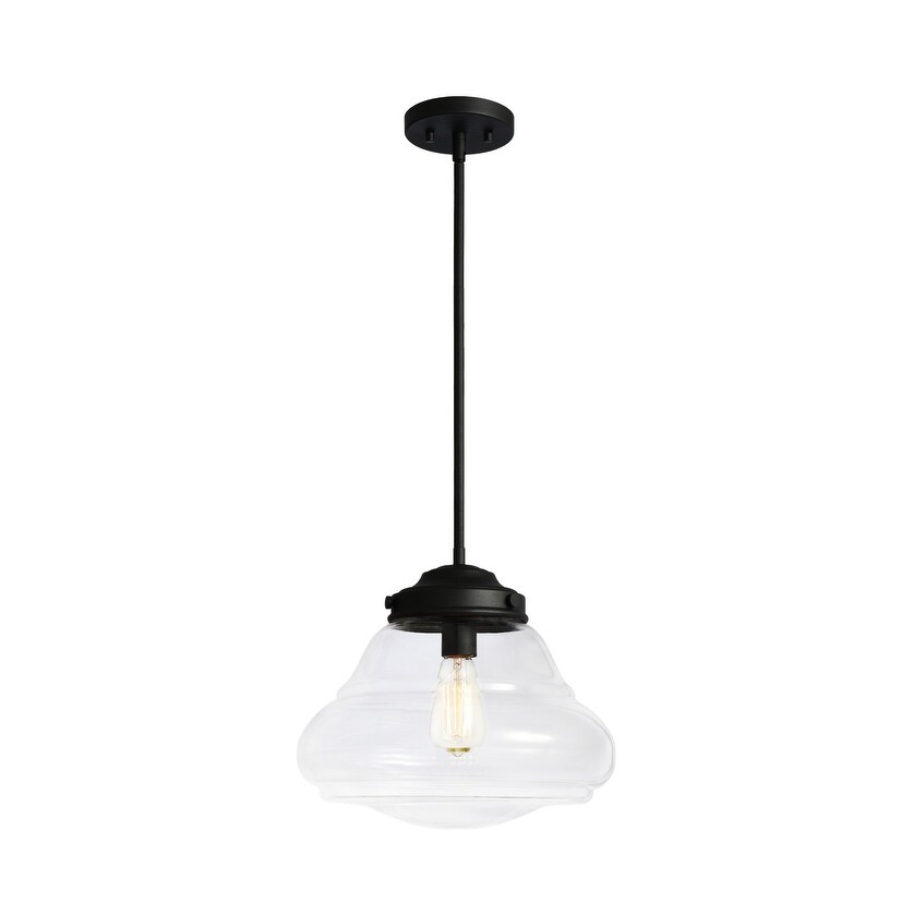 Matteo  C66704MBCL One Light Pendant BLOP Matte Black - One Size (One Size - Clear)
