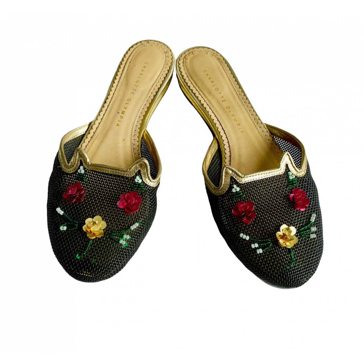Charlotte Olympia Kitty Black Leather Sandals for Women 38.5 IT