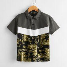 Boys Baroque Print Color Block Polo Shirt