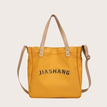 Letter Graphic Canvas Tote Bag