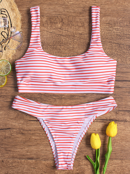 Yoins Red Stripe Pattern Spaghetti Bikini Set