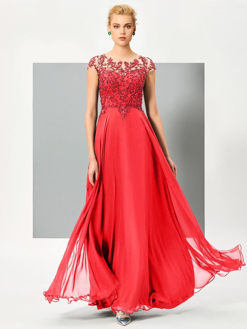 Ericdress A Line Cap Sleeve Long Evening Dress