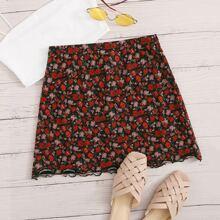 Lettuce Trim Ditsy Floral Print Skirt