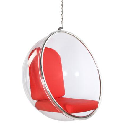 Bubble Collection FMI1122-RED Hanging Chair with Transparent Acrylic Frame  Contemporary Style  Polished Chrome Chain and PU leather Cushions in Red