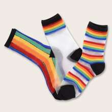 3pairs Toddler Girls Rainbow Stripe Pattern Mesh Socks