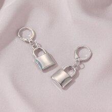 Lock Charm Drop Earrings