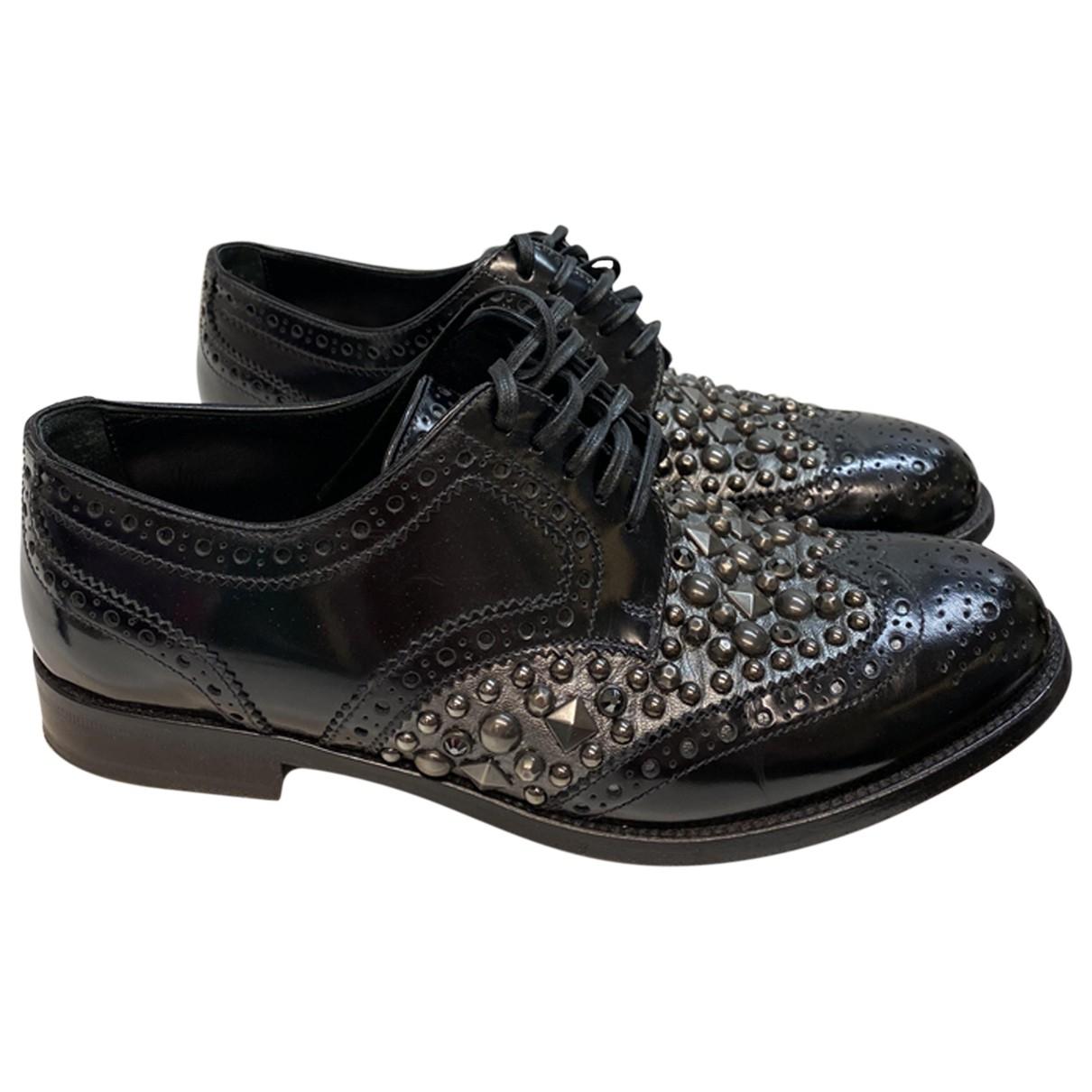 Dolce & Gabbana \N Black Leather Lace ups for Women 37 EU