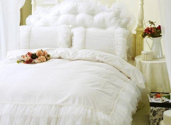 Pure Color Concise Lace Pattern 4-Piece Cotton Duvet Cover/Bedding Sets