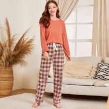 Schlafanzug Set mit Karo Muster