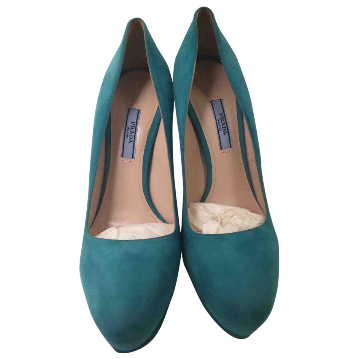 Prada \N Turquoise Suede Heels for Women 39 EU