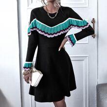 Flounce Sleeve Ruffle Trim Sweater Dress