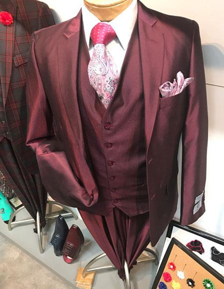 Mens Buttons Closure Single Breasted Notch Lapel Burgundy Vested Suits