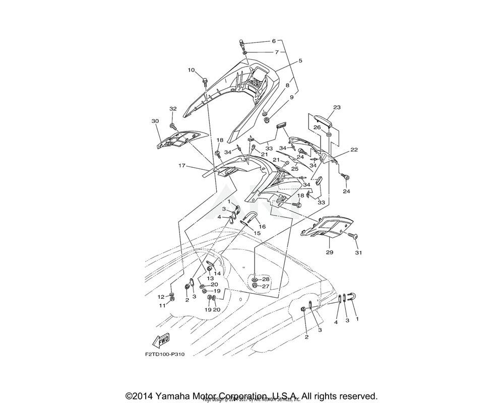 Yamaha OEM F2S-U89A1-01-P3 STORAGE, STERN (BMG)