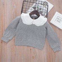 Sweatshirt mit Kontrast Kragen und Rueschenbesatz