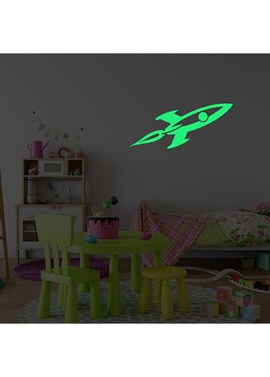 1pc 29 X 9cm Luminous Rocket Pattern Green Wall Sticker - One Size