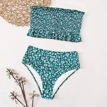Bandeau Bikini Badeanzug mit Blumen Muster und Raffung