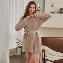 Raglan Sleeve Belted Sweater Dress