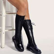 Lace-up Front Knit Boots