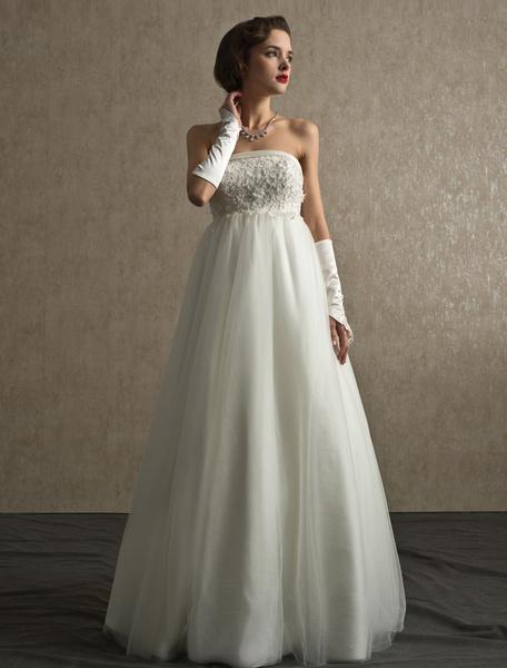 Milanoo Vestido de novia de tul con escote palabra de honor y cuentas con cola desmontable