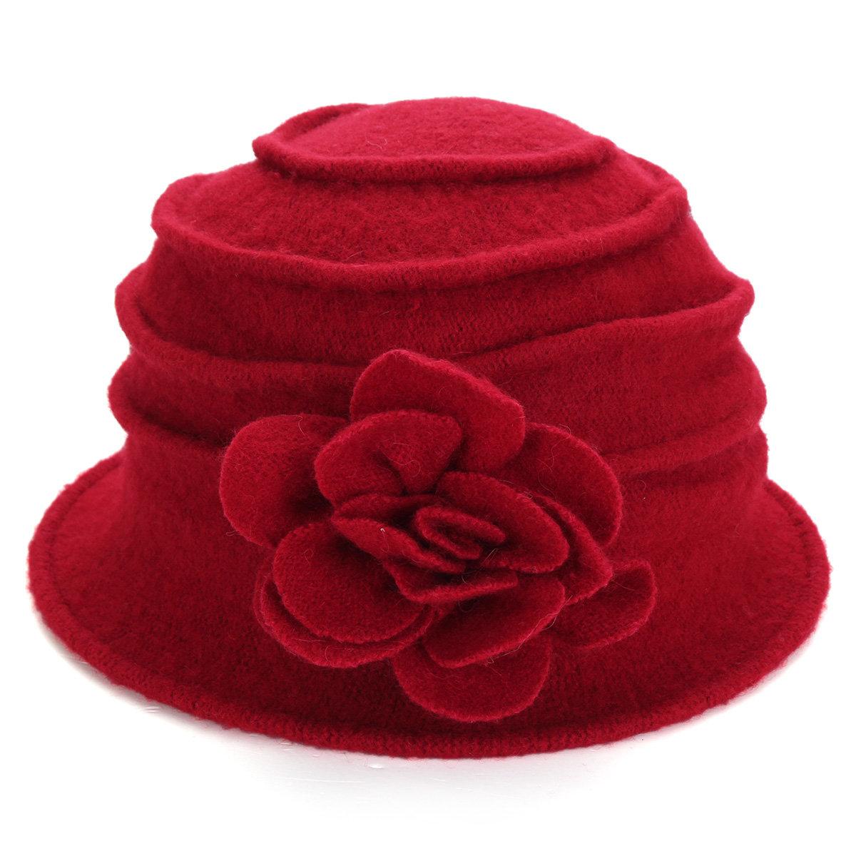 Women Ladies Flower Wool Felt Bucket Hat Packable Foldable Cloche Cap