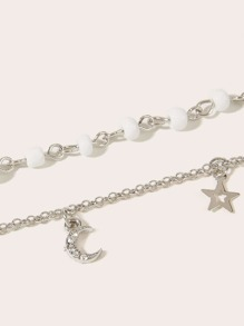 Star & Moon Charm Chain Anklet 2pcs