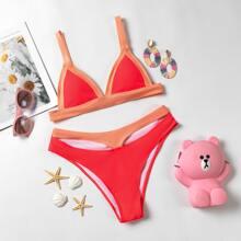 Dreieckiger Bikini Badeanzug mit Ausschnitt