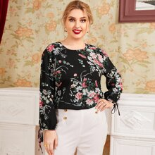 Plus Knot Cuff Tie Back Floral Top