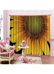 3D Home Decor Blackout and Water Proof Blackout Curtain with Refreshing Sunflower Pattern Environmentally Friendly Printing 200g/m² Polyester 80% Shad