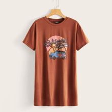 Mini T-Shirt Kleid mit Buchstaben Grafik